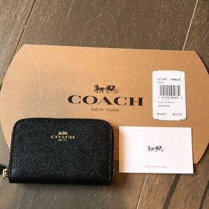 Coach Bags - {COACH} Cardholder. Black w/ gold detail.